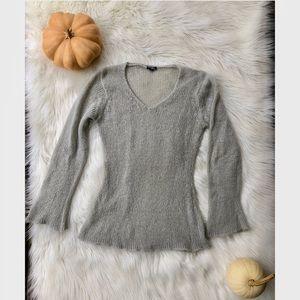 Soft light grey bell-sleeve sweater